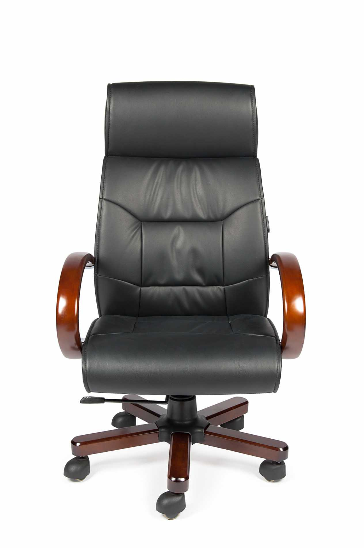 Кресло офисное / Конгресс / черная экокожа, дерево