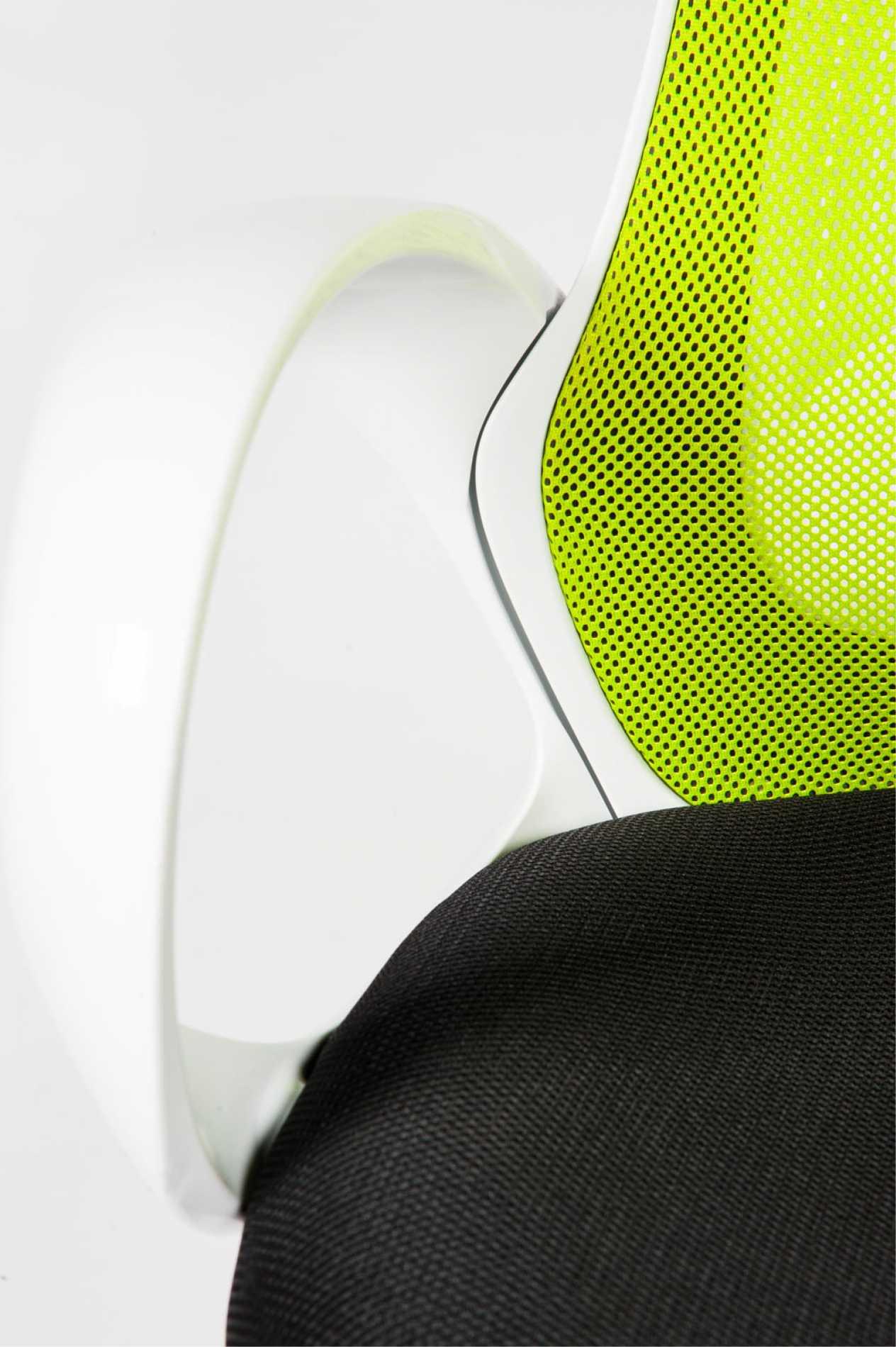 Кресло офисное / Лайм / белый пластик / зеленaя сетка / черная  ткань
