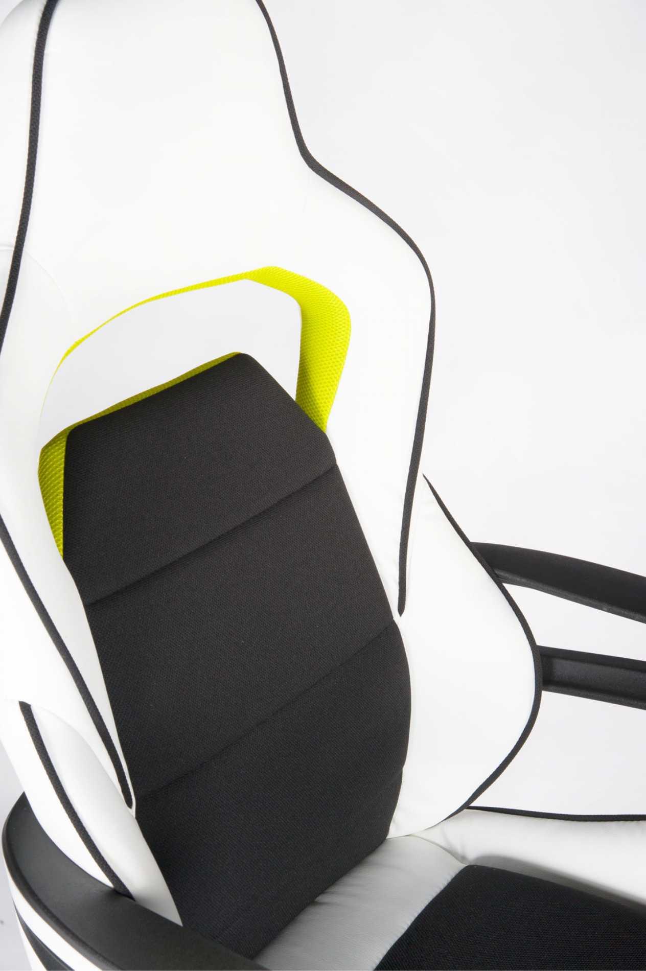 Кресло игровое Джокер Z, черно-белый пластик, чёрная ткань, белая экокожа